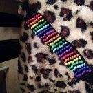 Hand Crochet Beaded Chakra Bracelet Black Cotton Ready to Ship