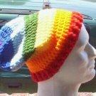 Hand Crochet UNISEX Slouchy Beanie Hat Rainbow Chakra Chemo Healing Reiki Made to Order