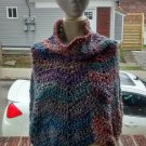 Hand Crochet Ripple Ponch with cowl Neck One Size Fits Most Paintd Desert