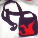 Hand Crochet Purple and Red Dragon Shoulder Bag Ready To Ship