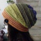 Hand Crochet Ladies Ridged Slouchy Beanie Multi Colors Chemo