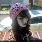 Hand Crochet Slouchy Skull Beanie Pink Ready to Ship skulls Day of the Dead El Dia Del Muerto