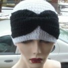 Hand Crochet Ladies White Beanie with a Black Bow - Made 2 Order