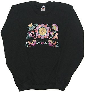 Embroidered Floral Sweatshirt - Sz Med