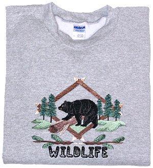 Embroidered Wildlife Bear Sweatshirt - Sz XL