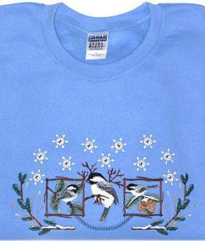Embroidered Chickadees Sweatshirt - Sz Lrg