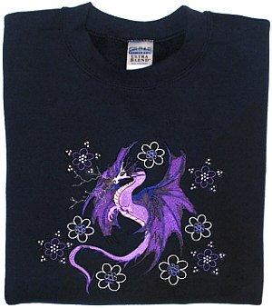 Embroidered Crystal Dragon Sweatshirt -Sz Lrg
