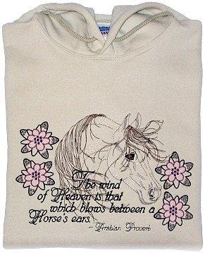 Embroidered Arabian Horse Sweatshirt -Sz M or L