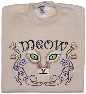 Embroidered Cat Meow Sweatshirt - Sz Med