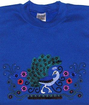Embroidered Crystal Peacock Sweatshirt -Sz Med