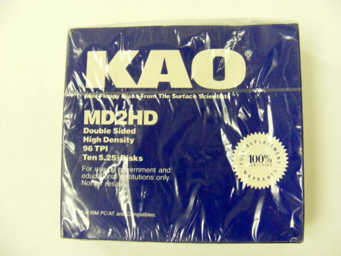 "KAO 10 5.25 "" 1.2MB Disks MD2HD High Density NEW 96 TPI"