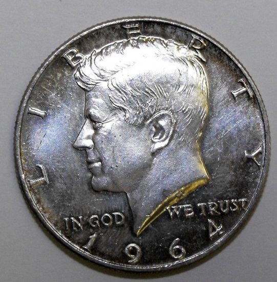 1964 90% Silver Kennedy Half Dollar COIN AU - BU Slight Rainbow Toning E08