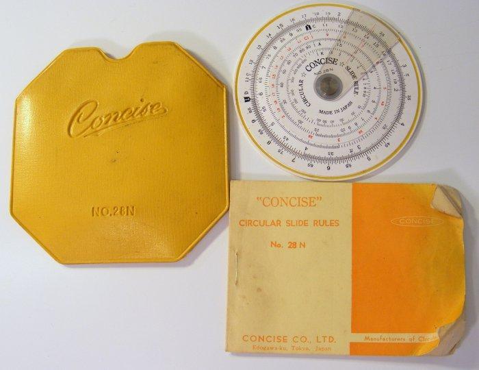 Vintage Concise 28N Circular Slide Rule with Case & Manual