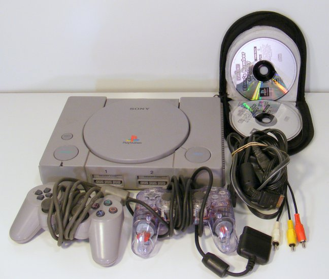 Sony Playstation 1 Video Game System with 8 Games 2 Controllers Elmo Racing Games Asteroids PS1