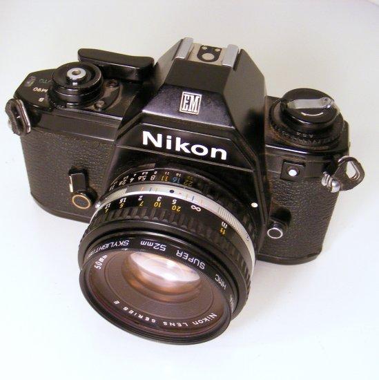 Vintage Nikon EM 35MM SLR Camera Body with Nikon Lens Series E 50MM