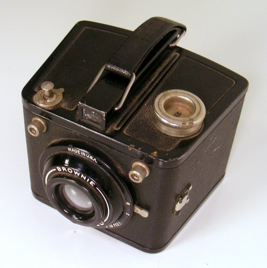 Vintage Brownie Flash Six-20 camera with film spools