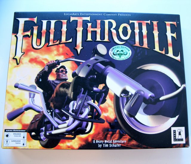 1998 Full Throttle Collectors CD-ROM LucasArts PC CD Game BOXED