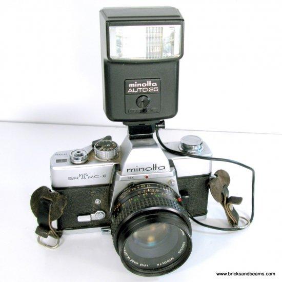 Minolta SRT MC-II 35mm SLR Film Camera with 50mm Lens and Flash