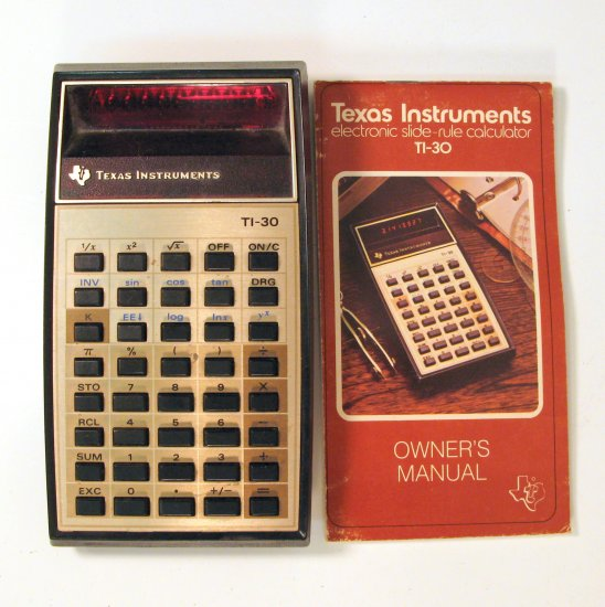 Texas Instruments TI-30 Vintage Calculator with Manual