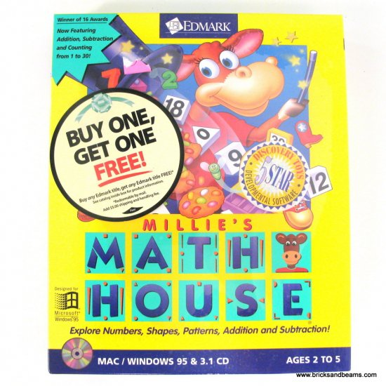 Edmark Millie's Math House 2.0 MAC Windows PC Game BoxedNew