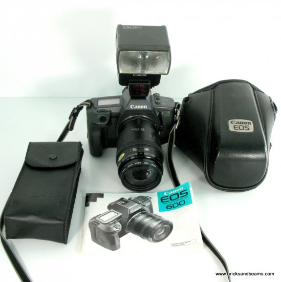 Canon EOS 600 35mm SLR Film Camera Kit w EF 35-105mm Lens, SpeedLite 430EZ Flash, Manual, EH1-L Case