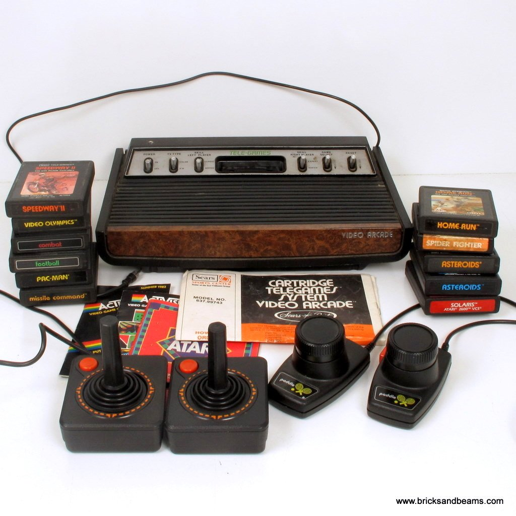 Sears Telegames Atari 2600 Heavy Sixer Deck Video Computer System w 11 Games 2 Joysticks Console