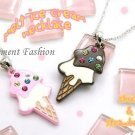 Ice cream bling necklace #AN001 (brown)