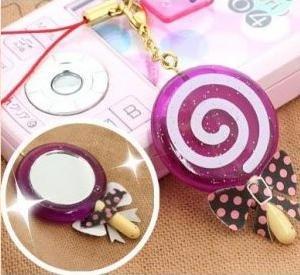 Purple lollipop mirror phone strap