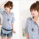 Blue Stripe fake 2pcs shirt #PT006