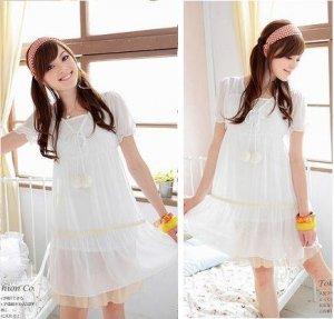 White pom pom dress #PD001