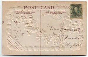 Bard South Dakota Cancel on Postcard DPO 1887-1913 Hanson Co Free Shipping!!