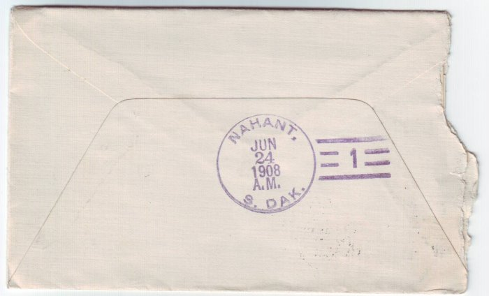 Nahant South Dakota Type 3 #1 Doane Cancel on Cover DPO 1905-1913 Lawrence Co Free Shipping!!