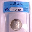 1934 ANACS AU-50 Washington Quarter Doubled Die Obverse FS-009 Die 1 Free Shipping!!