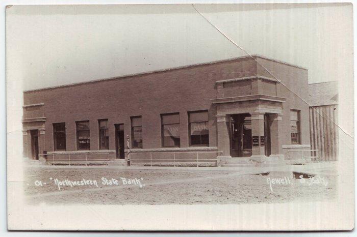 Newell South Dakota Northwestern State Bank RPPC Real Photo Postcard Free Shipping!!