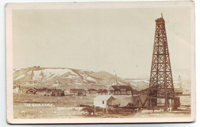 Bair Camp Rawlins Wyoming Oil Drilling Real Photo Postcard RPPC Free Shipping!!