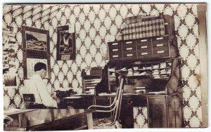 Midland South Dakota 1909 RPPC Real Photo Postcard Law Office Interior Typewriter Free Shipping!!