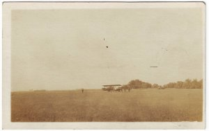 RPPC Real Photo Postcard Airplane on field Free Shipping!!