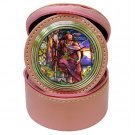 St John Jewelry Case Travel Clock - Pink Leather - New