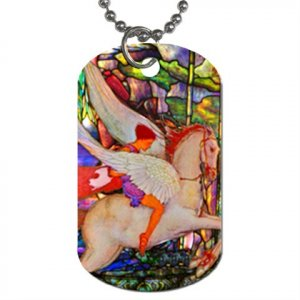 Flame Spirit & his Flying Horse Dog Tag necklace