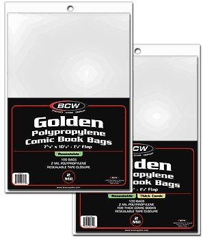 BCW 1000ct (Case) Golden Resealable Comic Bags