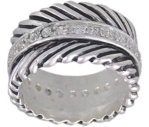 CUBIC ZIRCONIA CZ STERLING SILVER RING SIZE 5 8 or 10