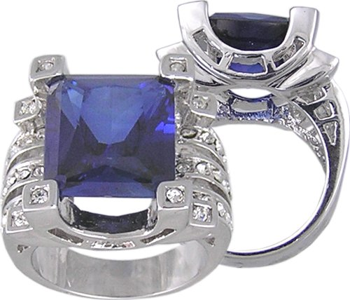 BLUE SAPPHIRE CUBIC ZIRCONIA CZ RING SIZE 8 or 9