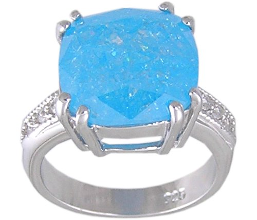 BLUE CUBIC ZIRCONIA CZ SILVER RING SIZE 5 7 or 9
