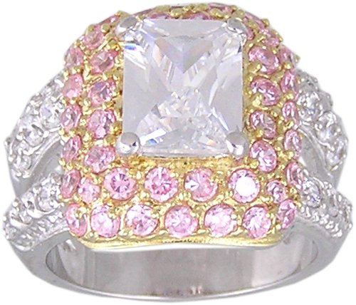 PINK CUBIC ZIRCONIA CZ SILVER RING SIZE 5 6 7 9 & 10