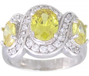 YELLOW CUBIC ZIRCONIA STERLING SILVER RING SIZE 5 or 10
