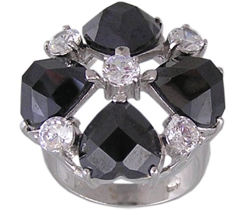 BLACK CUBIC ZIRCONIA STERLING SILVER RING SIZE 5 6 or 7