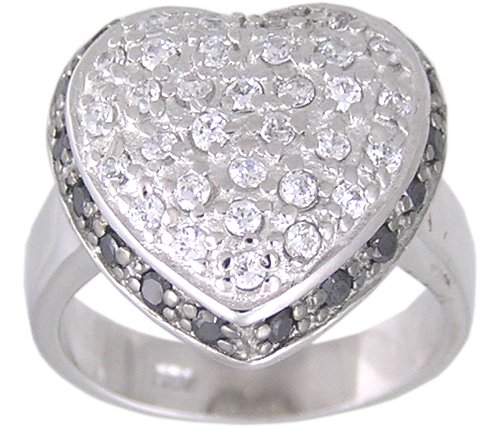 BLACK CUBIC ZIRCONIA STERLING SILVER RING SIZE 6 7 or 8