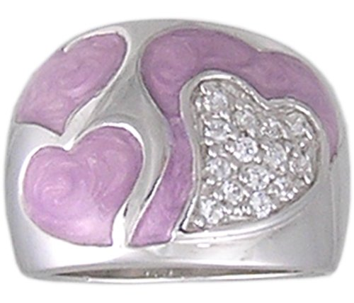 PINK CUBIC ZIRCONIA STERLING SILVER RING SIZE 5