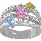 CUBIC ZIRCONIA STERLING SILVER RING SIZE 5 6 8 or 10