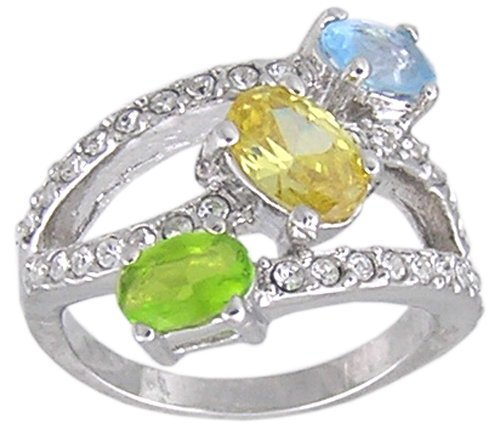 CUBIC ZIRCONIA STERLING SILVER RING SIZE 5 6 7 8 or 9